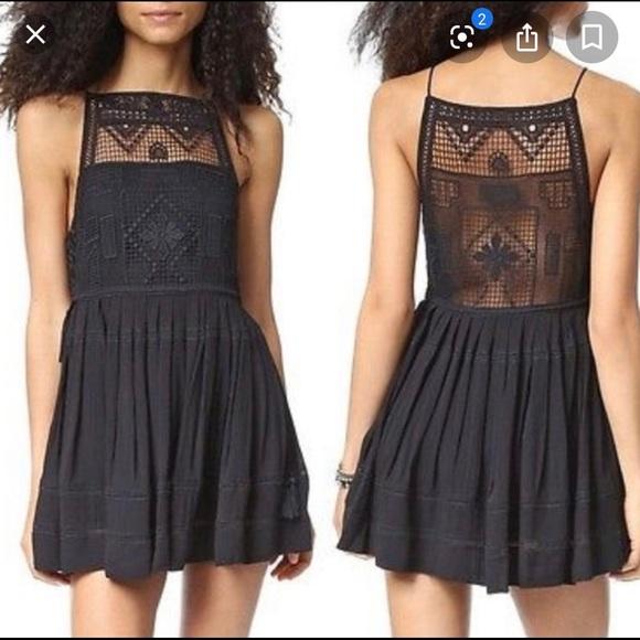 Free People Dresses & Skirts - Free People 'Emily' black crochet dress - Sz S